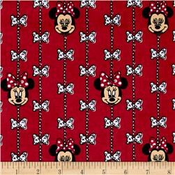 Disney Minnie Mouse Bow Stripe Flannel Red