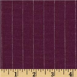 Stretch Linen Pin Stripe Grape