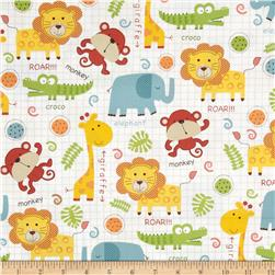 Timeless Treasures Peek-A-Zoo Baby Jungle Animals Multi Fabric