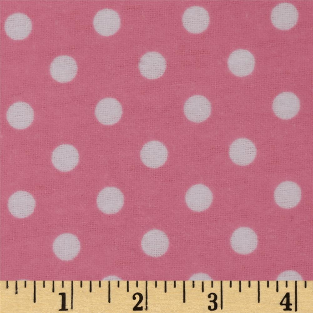 Dreamland Flannel Happy Dots Pink Carnation