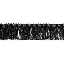 2'' Metallic Chainette Fringe Trim Black Fabric