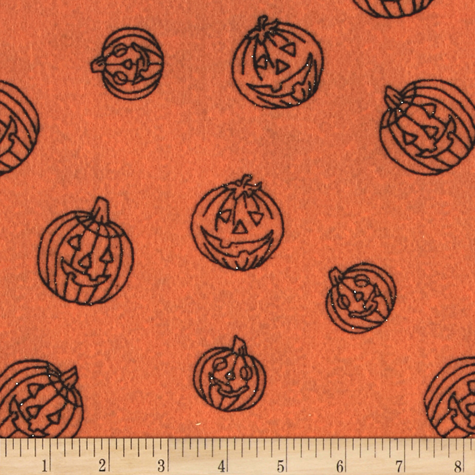 Halloween Felt 9x 12'' Craft Cut Pumpkin Orange
