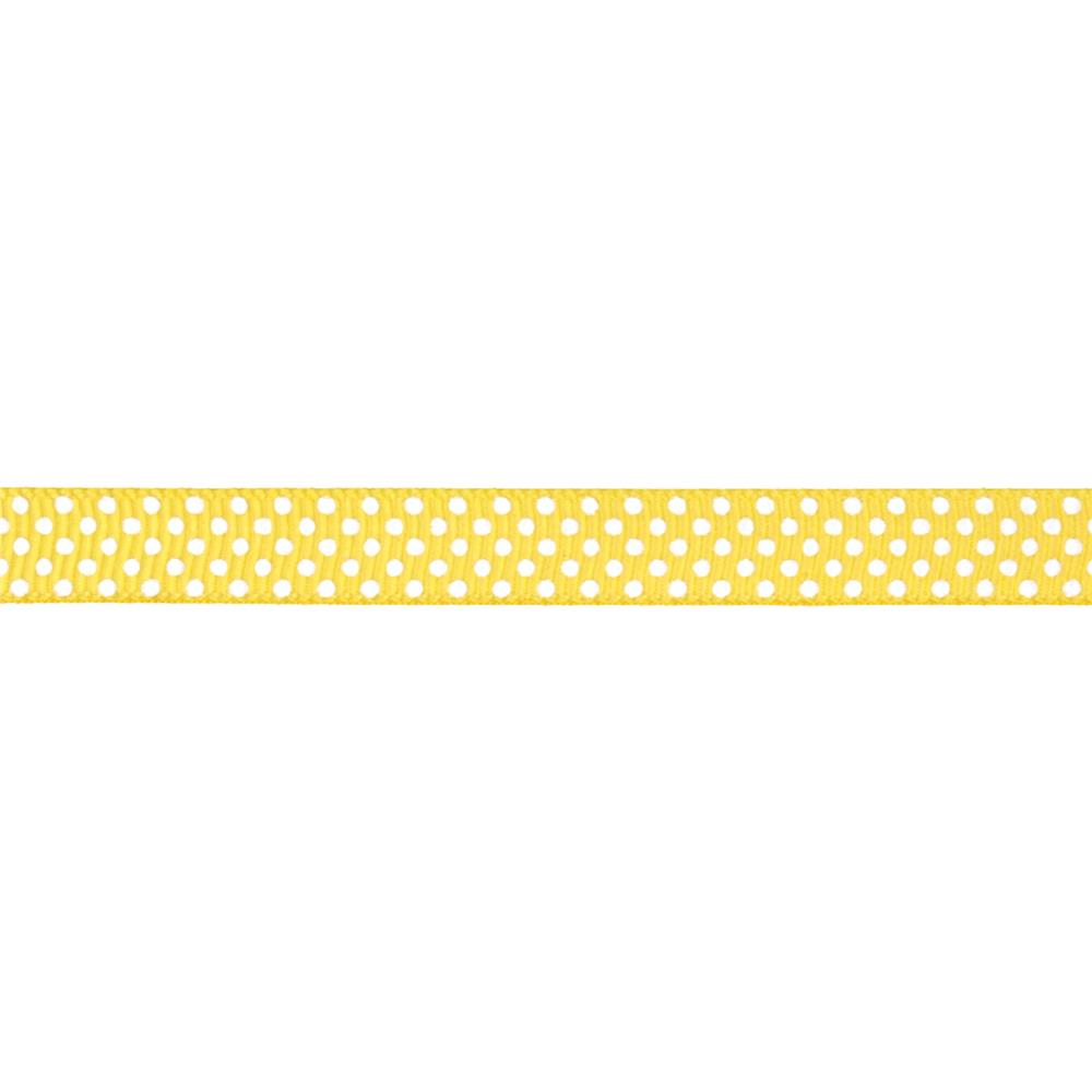 "Riley Blake 3/8"" Grosgrain Ribbon White Dots Yellow"