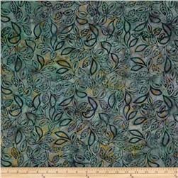 Moda Dreamcatcher Batik Swirled Leaf Night Green