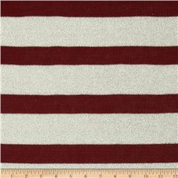 Stretch Sparkle Sweater Knit Stripes Maroon/White