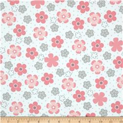 Kaufman Cozy Cotton Flannel Daisy Flower Pink