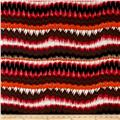 French Designer Rayon Challis Abstract Zig Zag Brown/Pink/Orange