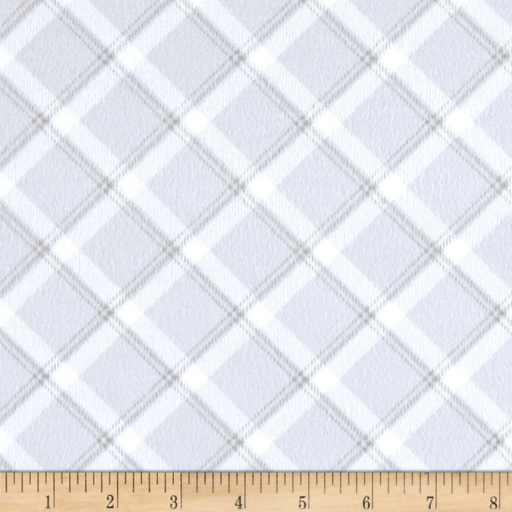 Kanvas breezy baby flannel lullaby plaid silver grey for Cheap baby fabric