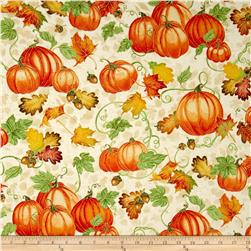Harvest Bounty Pumpkin & Leaves Ecru
