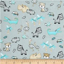 Comfy  Flannel Small Safari Animals Grey