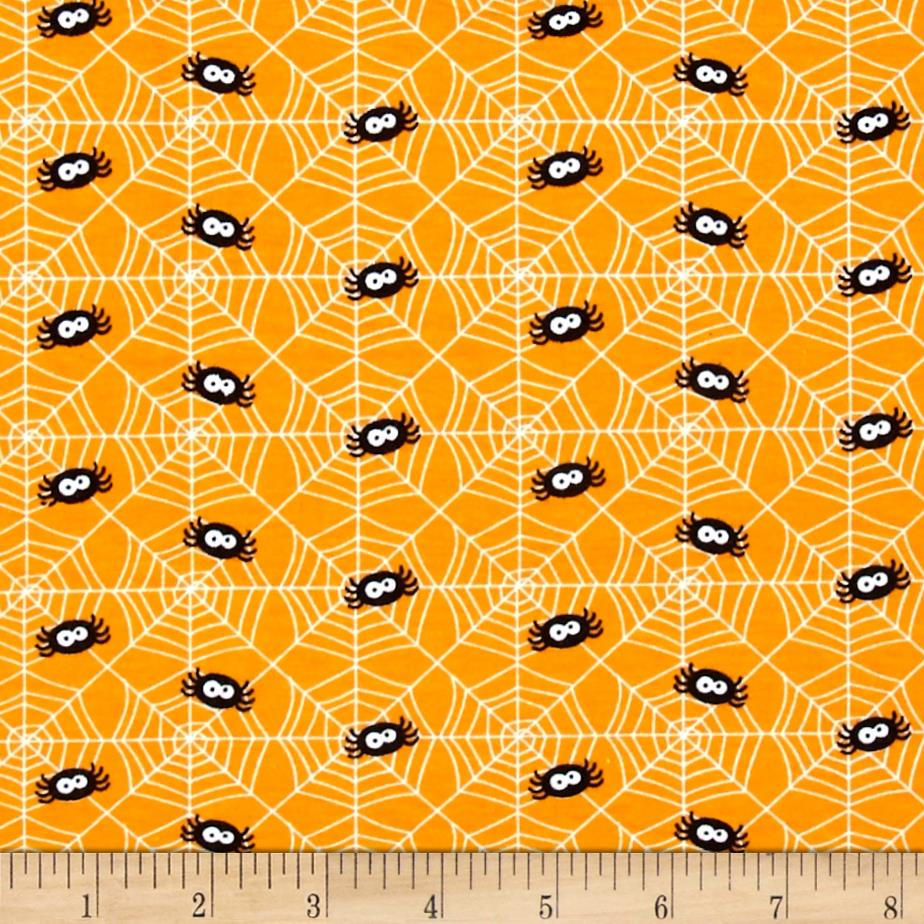 Riley Blake Cotton Jersey Knit Ghouls Spider Orange Fabric By The Yard