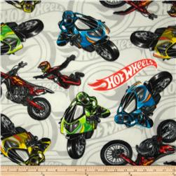 Hot Wheels Fleece Bikers Allover Light Gray Fabric