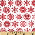 Moda Folk Art Holiday Flakes Poppy