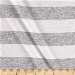 Metallic Stripe Jersey Knit Silver/Grey