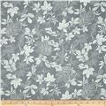 "108"" Wide Quilt Back Modern Leaf Dark Gray/White"