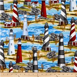 Timeless Treasures Lighthouse Blue