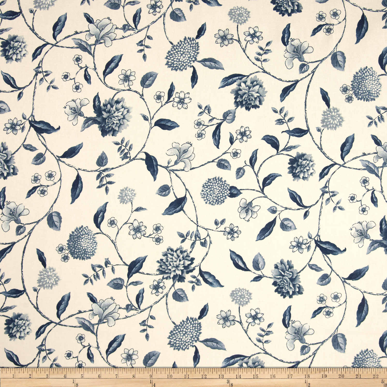 Waverly Nassau Vine Toile Porcelain Fabric
