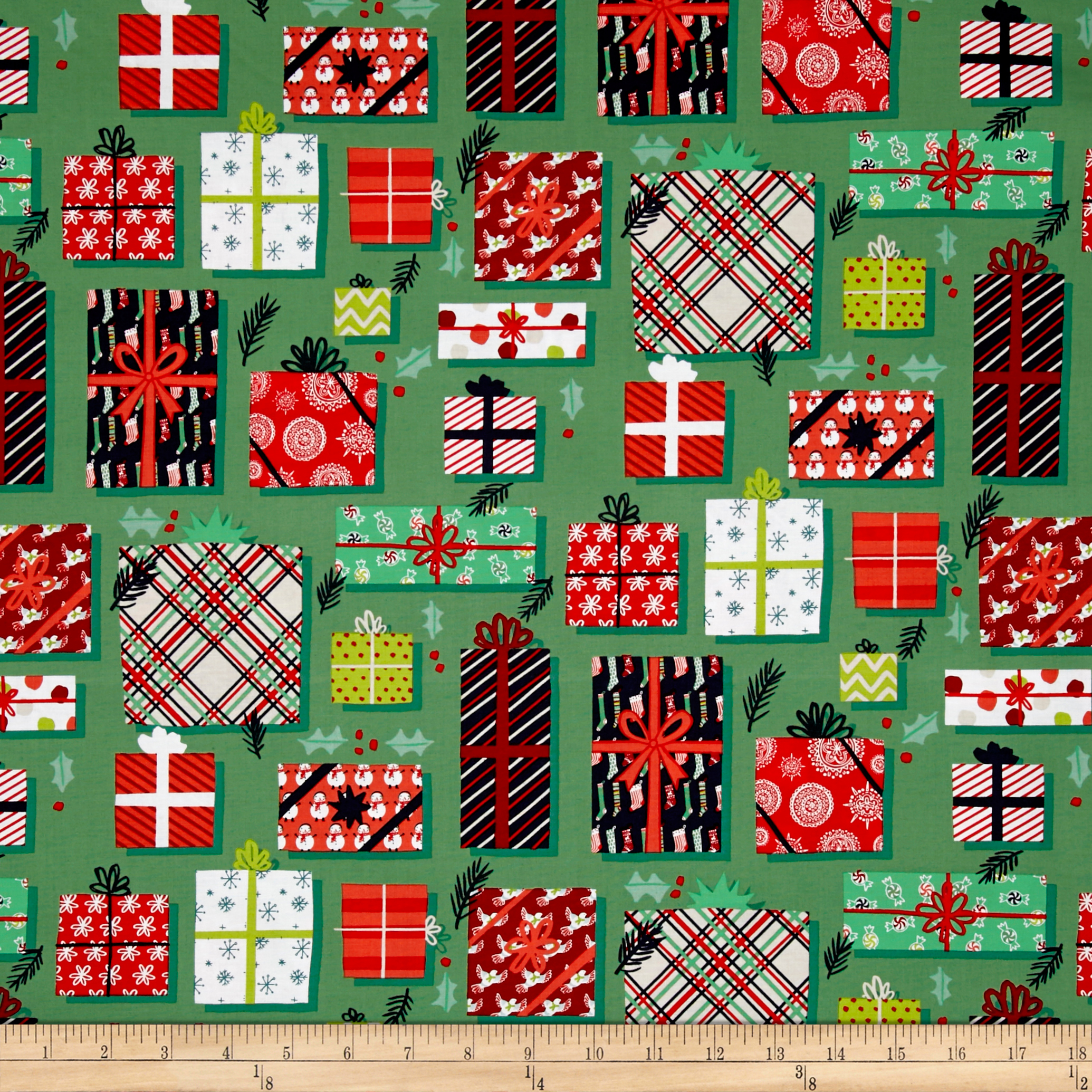 25 Days of Christmas Gifts Green Fabric By The Yard