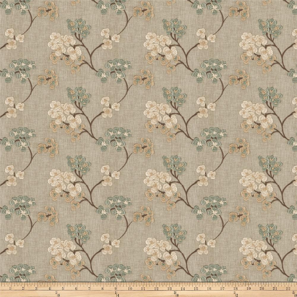 Fabricut Ballan Embroidered Faux Linen Sea Mist