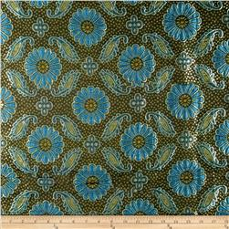 Metallic Brocade Floral Black/Gold/Blue