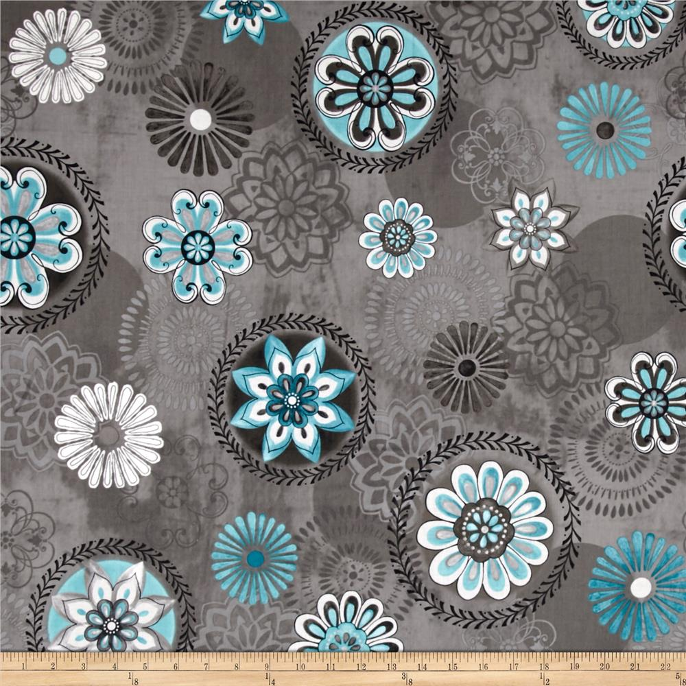 Isabella Floral Medallions Medium Gray