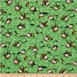 Flannel Novelties Tossed Monkeys Green