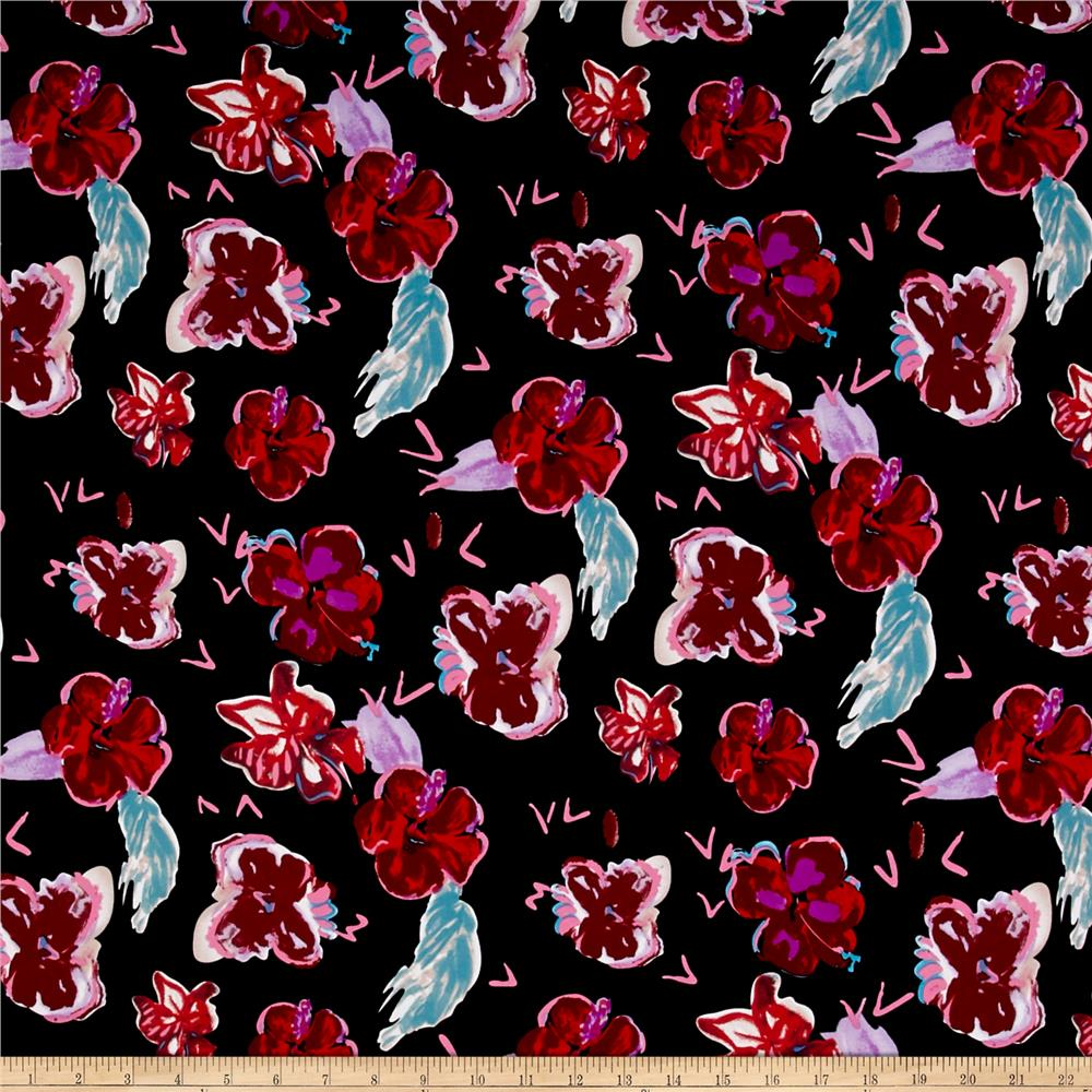 ITY Jersey Knit Floral Black/Red/Pink