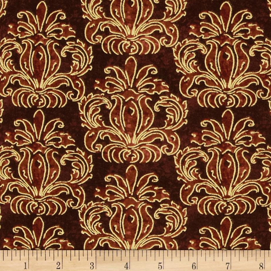 Autumn Treasures Metallic Damask Dark Brown