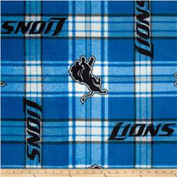 NFL Detroit Lions Plaid Fleece Blue/White Fabric