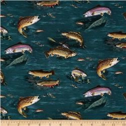 Top Rod Fish Teal Fabric
