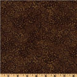 108'' Complementary Leafy Scroll Quilt Backing Brown Fabric
