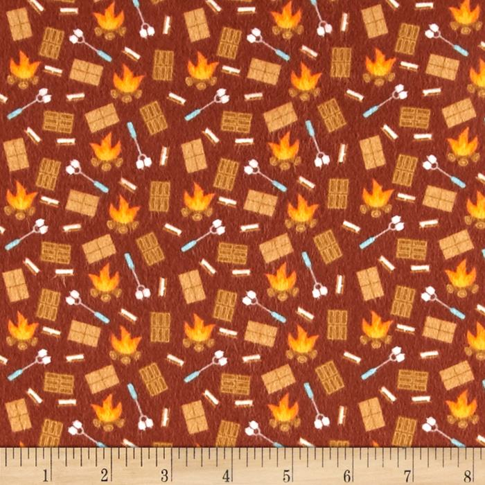 Riley Blake Happy Camper Flannel Smores Brown Fabric By The Yard