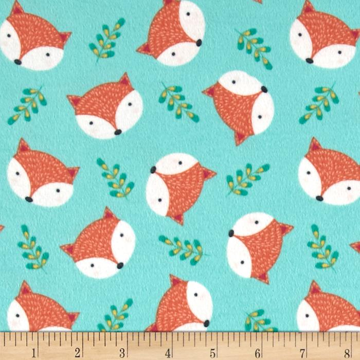 Timeless treasures flannel fox head jade discount for Fox print fabric