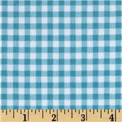 Woodland Friends Flannel Check Aqua/White