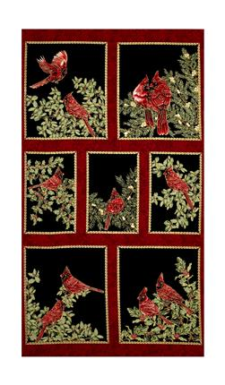"A Festive Season Metallic Backyard Cardinals 23.5"" Panel Black"