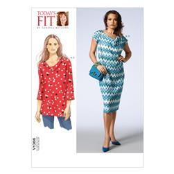 Vogue Misses' Tunic, Dress and Slip Pattern V1386 Size OSZ