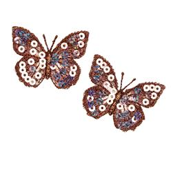 Small Butterfly Iron On Sequin Applique Brown