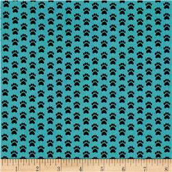 Dog Lover Paw Prints Dark Aqua