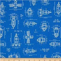 Kaufman Spaced Out Spaceships Drawings Blue