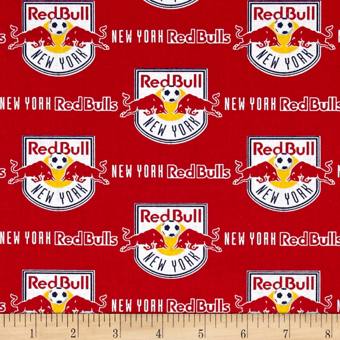 MLS Cotton Broadcloth New York Red Bull Fabric by Fabric Traditions in USA