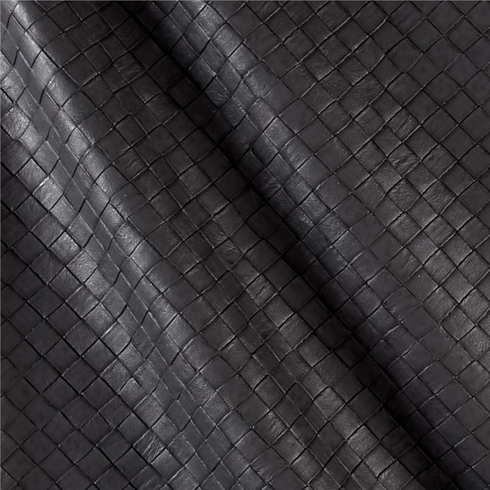 Faux Leather Tile Basketweave Graphite