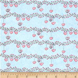 Bird Wise Heart Stripes Blue Fabric