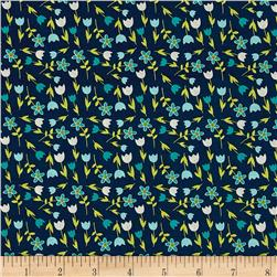 Michael Miller In Bloom Flower Yard Teal