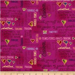 Laurel Burch Fabulous Felines Text Fuchsia Metallic Fabric