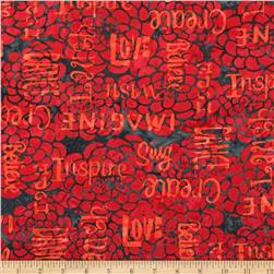 Bali Batiks Handpaints Words & Flowers Coral