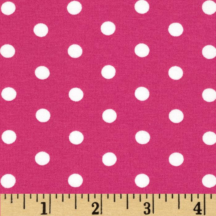 Kaufman Laguna Stretch Jersey Knit Polka Dot Pink
