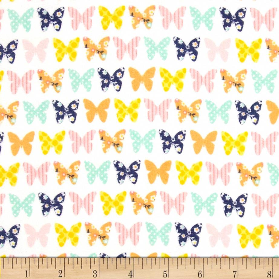 Riley Blake A Beautiful Thing Flannel Butterfly White