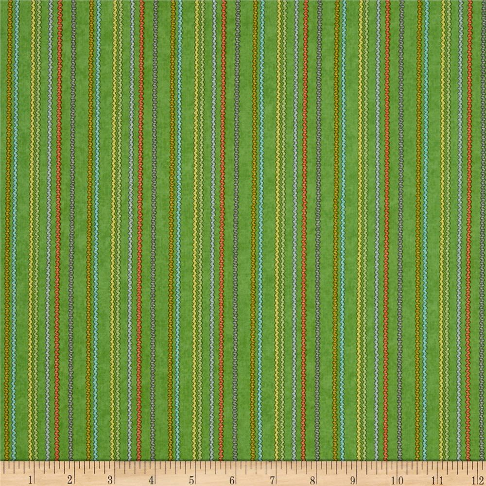 Purrfect Notions Ric Rac Stripe Green