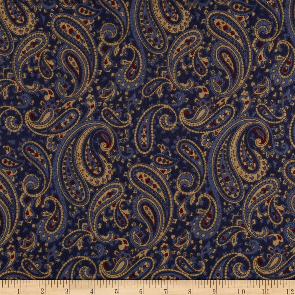 Timeless Treasures Tailormade Flannel Paisley Navy