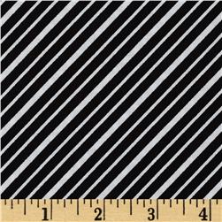 Robert Kaufman Remix Diagonal Stripes Black